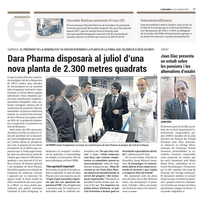 Dara Pharma dispondrá en julio de una nueva planta de 2.300 metros cuadrados