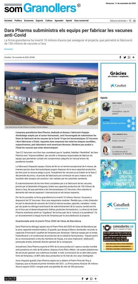 Dara Pharma suministra los equipos para fabricar las vacunas anti-Covid