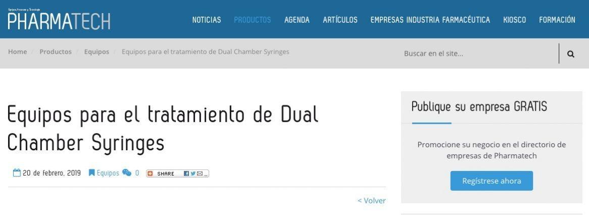 Equipo para el tratamiento de Dual Chamber Syringes