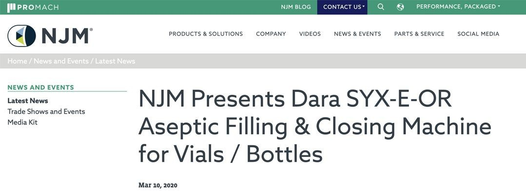 NJM Presents Dara SYX-E-OR Aseptic Filling & Closing Machine for Vials / Bottles