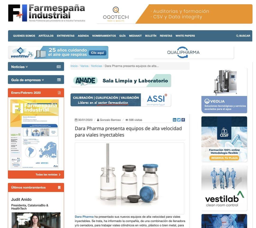 Dara Pharma presenta equipos de alta velocidad para viales inyectables