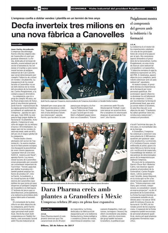 Visita industrial del presidente Puigdemont
