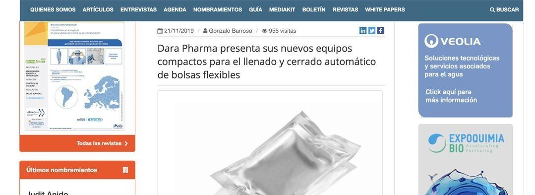 Dara Pharma presenta sus equipos compactos para el llenado y cerrado automático de bolsas flexibles