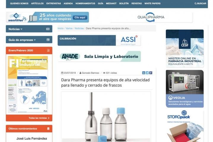 Dara Pharma presenta equipos de alta velocidad para llenado y cerrado de frascos.
