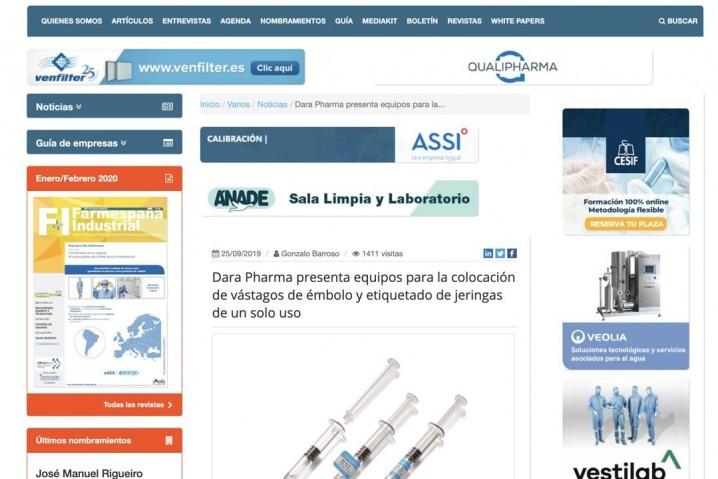 Dara Pharma presenta equipos para la colocación de vástagos de émbolo y etiquetado de jeringas.