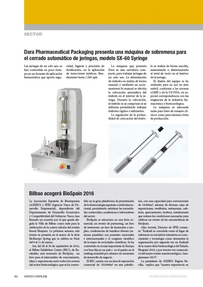 Tabletop machine for automatic closing of syringes.