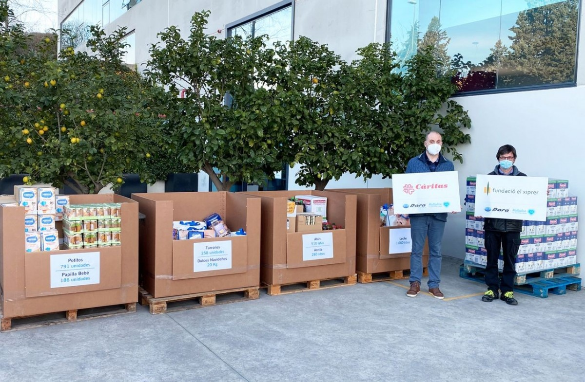 Dara Pharma delivers the food collection to the El Xiprer and Cáritas foundations.