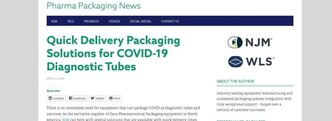 Quick Delivery Packaging Solutions for COVID-19 Diagnostic Tubes