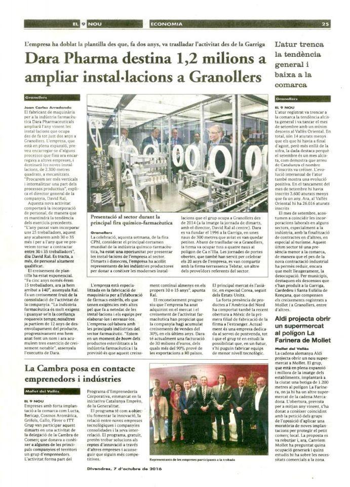 Dara Pharma destina 1,2 millones a ampliar instalaciones en Granollers.