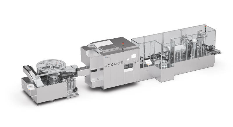 Complete line to process cartridges