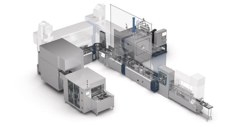 Complete line for washing, sterilizing, filling, freeze drying, and closing of vials